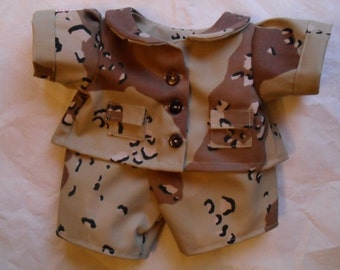 Camo BTUs Pants Shirt Bear Clothes fits Build a Bear Hello Kitty HandMade real buttonholes