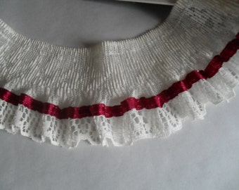 OffWhite Creamy Ruffled Lace with Burgundy Ribbon Embellishment Trim