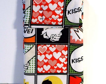 Large Cell Phone Case, Love Comic gadget pouch, sunglasses case, pop style, retro