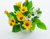 Blooming Miniature Hydrangea and Sunflowers Polymer Clay Flowers Supplies in glass vase