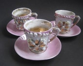 Vintage Teacups and Saucers Ceramic Handpainted with Gold Luster Glaze Set of Three