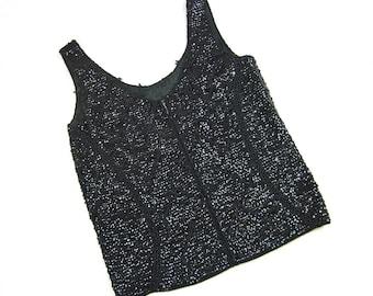Vintage 50s 60s Beaded Black Sleeveless Party Sweater, Sz S