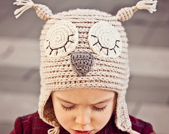 Crochet PATTERN  - Sleepy Owl Earflap Hat (sizes baby, toddler, child, adult)