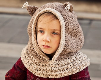 Instant download -  Crochet PATTERN (pdf file) - Squirrel Hooded Cowl (baby to adult)