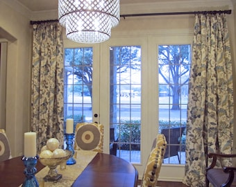 "Blue Window Curtains, Teal Drapes, Blue Floral Window Treatments, Jacobean Style Floral Drapery Panels, Rod-Pocket Curtains, One Pair 50""W"