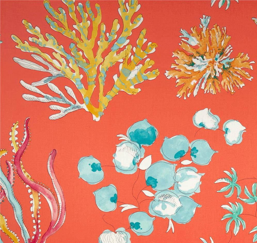Coral Shower Curtain Ocean Theme Fabric by asmushomeinteriors
