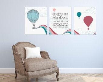 Somewhere Over The Rainbow Art Nursery/ Kids Room Giclée Art Prints, 3 Print Set, Custom match colors to your nursery/room // N-G23-3PS AA1