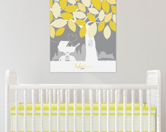 Baby Shower Guestbook, Mother to Bee Theme, Bumble Bee Nursery Art, Gray and Yellow Nursery Art // Art Print or Canvas // N-A09-1PS QQ2