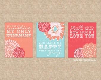 Flower Sunshine Lyric Artwork for Nursery or Kids Room // Set of 3 Giclée Art Prints // N-G03-3PS AA1
