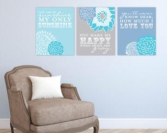 You are My Sunshine Lyric Artwork for Nursery or Kids Room // Set of 3 Giclée Art Prints // N-G03-3PS AA1