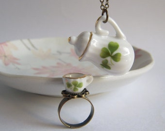 Teapot Necklace, Tea Cup Ring, Miniature Ceramic Jewelry Set, Green Clove White China, Tea Party Accessories