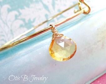Bangle bracelet with Birthstone, Birthstone layering bracelet, stacking bracelet, citrine bracelet, wire wrapped gemstone, november