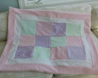 Chenille patchwork pastel quilt in pink, mint green, and lavender soft warm lap girl baby quilt