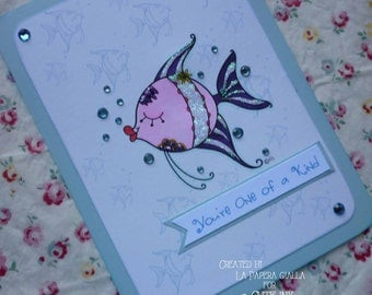 You're One of a Kind - Handmade blank greeting card with elegant angel fish