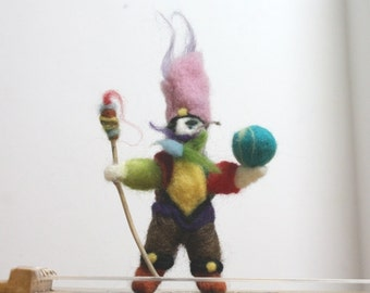Needle Felted Gnome, Whimsical Mad Elf of teh Green Circus, Waldorf Gnome Figurine, felted miniature