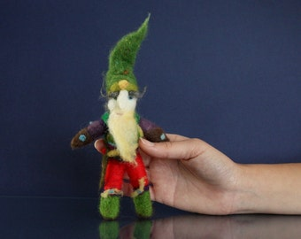 Needle Felted Gnome in Forest Master outfit, Handmade Art Doll for woodland lovers, Waldorf needle felted Tomte, Guarding angel, green hat