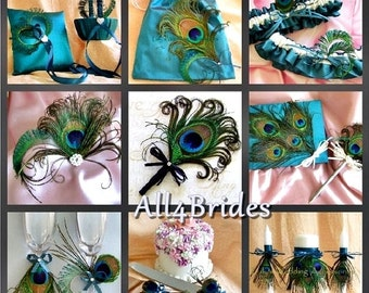 Peacock Wedding Teal Ring Pillow, Flower Girl Basket,  guest book, bridal leg garters, ceremony candles, purse, flutes and more 16pc