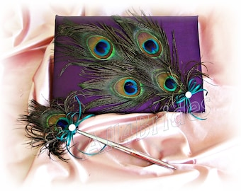 Peacock Wedding Guest Book and Pen Eggplant Purple and Teal - Peacock Feathers Wedding Accessories - Peacock Weddings Accessories