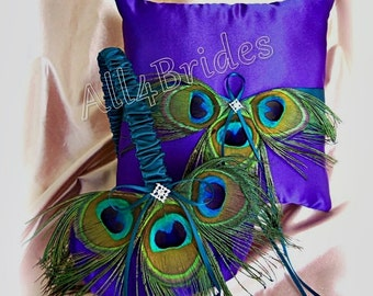 Teal and purple peacock wedding pillow and basket.  Ring bearer pillow and flower girl basket wedding decorations