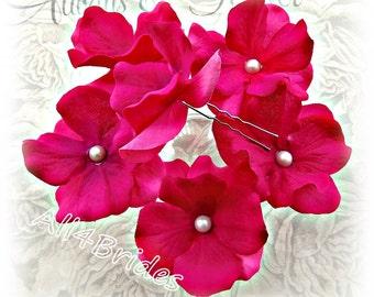 Fuchsia Flower Hair Pins, Bridal or Bridesmaids Wedding Hair Accessories, Set of Six Hydrangea Flower Pins