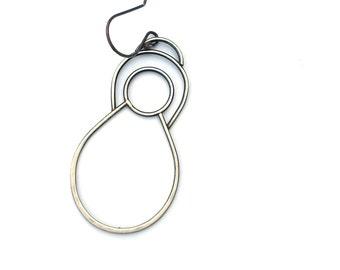 Single Earring, EAD2015 #41/365: Sterling Silver Dangle Earring, Oxidized Silver , Minimal Earring, Contemporary Jewelry
