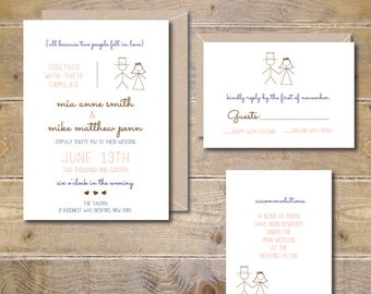 Wedding Invitations Invites Stick Figure Whimsical