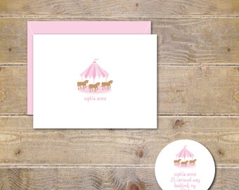Child's Stationery, Stationary, Girl, Carousel Cards, Horse Cards, Carousel Note Cards, Horses, Personalized, Thank You Cards -Pink Carousel
