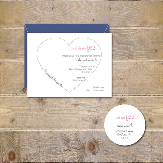 Engagement Party Invitations . Bridal Shower Invitations . Engagement Invites . Heart Invitations . Bridal Shower - He Popped The Question