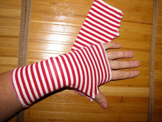Wheres Waldo Red Striped Fingerless Gloves Arm Warmers Vampire Goth Pippy Longstockings Size Small Medium Large or XLarge