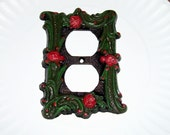 Vintage Electric Outlet Cover ornamental hardware red roses metal