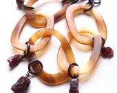 Horn jewelry * organic jewelry * golden horn bracelet * raw garnet jewelry