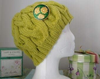 Chartreuse Green Cable Hat with Vintage Daisy Brooch
