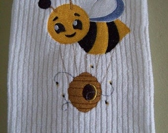 Embroidered Towel Don't Worry Bee Happy Kitchen or Bath Towel Handmade Housewares