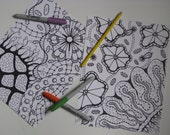 Instant Download Coloring Pages - 5 Printable Designs  - Set 1