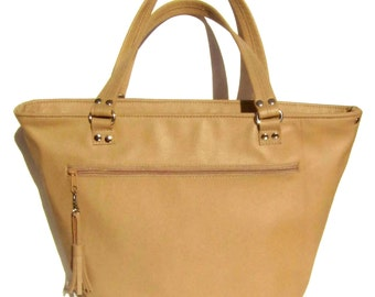 Tan Leather Tote With Top Zipper Closure