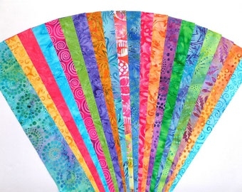 Indonesian Cotton Batik Jelly Roll Strip Pack Bright Bold Fabric Quilt Strips Quilting Sewing Material Die Cut No Dups sku JR120-BATIgd