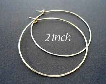 "2 inch, 2.5""; 2.75"" inch, Gold Hoop Earrings, Hoop, Hammered Gold Filled Hoop Earrings, Gold Hoops, 14KT Gold Filled Hoop Earrings"