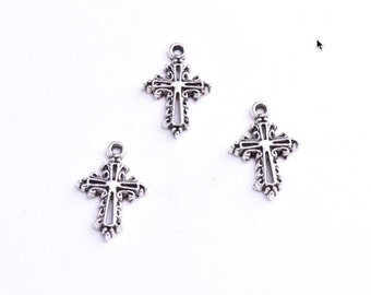 Cross Charm Pack, 20mm , antique silver, 12 each 04846CS