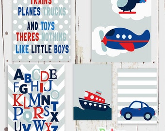 Car Plane Boat Alphabet Word Nursery Art Print Set Baby Boy Room Decor