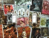 5 CHOICES- Travel theme Switchplates w/ MATCHING SCREWS- Stamps of Great Britain British stamps European art decor Amalfi poster post cards
