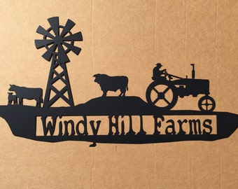 Custom Metal Farm Sign with Tractor, Cows and a Windmill Personalized text field  (H0)