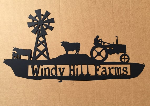 Custom Metal Farm Sign with Tractor (H0)