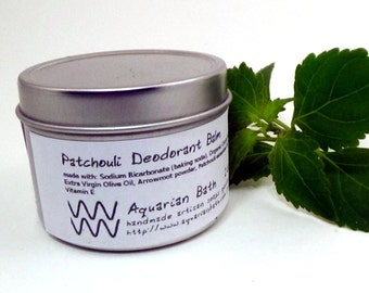 Patchouli Deodorant Balm - Natural Deodorant - Featured in the book Plastic Free - Vegan 2 oz