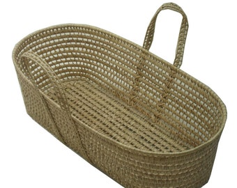 Moses Basket, 100% Organic Cotton Futon and 2 Organic Fitted Sheets - choose your fabric