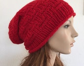 Hand knit hat, Chunky  Hat, Red wool hat