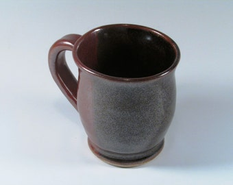 Ceramic Mug - Brown, Tomato Red - Stoneware Coffee Mug - Handmade Coffee mug - Wheel Thrown Mug -  Stoneware Mug - Pottery Mug