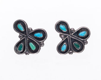 Zuni Petitpoint Earrings - 40s/50s Screwbacks - Natural Aged Turquoise