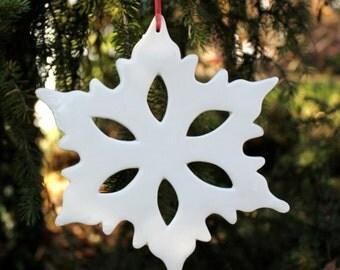 Large White Porcelain Snowflake Ornament.