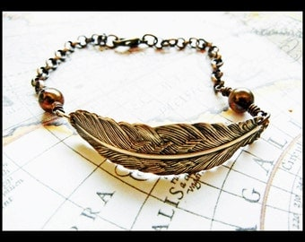 Golden Feather and Chocolate Freshwater Pearl Bracelet