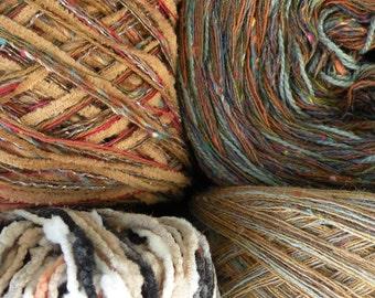 50% off, 4 Yarn lot worsted dk destash cotton, yarn clearance CLOVE CAKES Caramel Glaze dark brown tan beige Sirdar Life's an Expedition